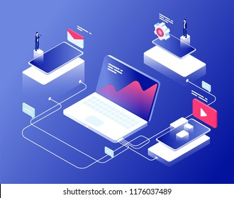Network and affiliate marketing concept. Referral programs business clients recommendation. Internet revenue isometric background. Affiliate management internet line illustration