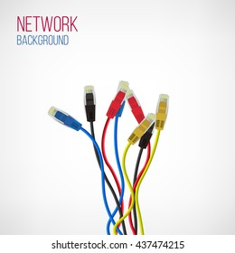 Network Background. Patch Cord. Network Connection. Internet. Abstract Colorful Wire Background. Ethernet For Enterprise Networks. Vector Illustration