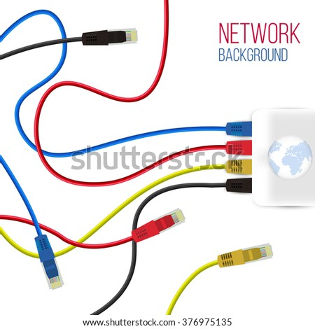 Network Background Patch Cord Network Connection Stock Vector ...