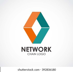 Network chain of rhombus ribbon abstract vector and logo design or template teamwork business icon of company identity symbol concept