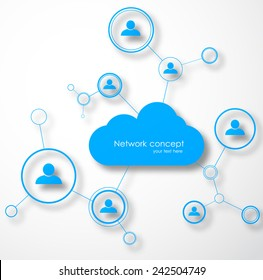 Network cloud concept. Social technology vector illustration