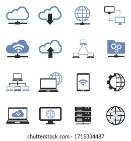 Network Cloud Icons. Two Tone Flat Design. Vector Illustration.