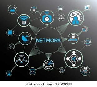 network and communication concept, network icons