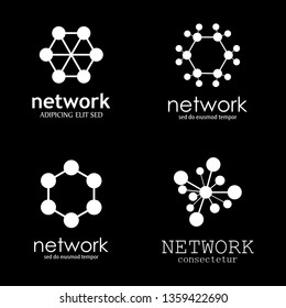 Network And Communication Icon Set - Isolated On Black Background - Vector Illustration Of Technology Logo. Simple Network Symbols For Web, Technology Icons And App Template