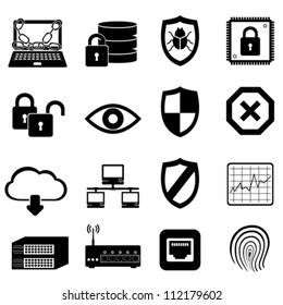 Network, computer and cyber security icon set