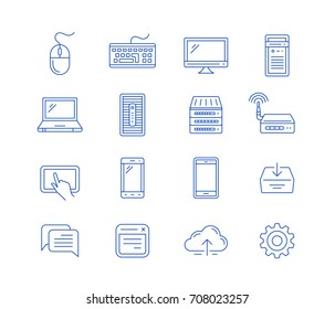 Network computing and mobile devices. Vector linear icons.
