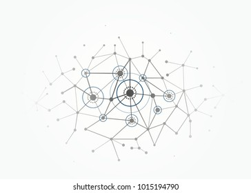 Network concept connections with lines, circles and dots. Vector illustration