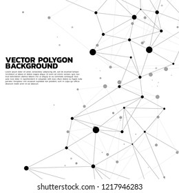 Network Connecting dot polygon background : Concept of Network, Business, technology, Connecting, Molecule, Data, Chemical