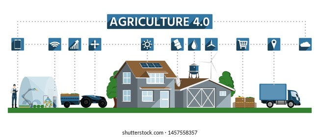 Network connection in agricultural production, processing and logistic center for growing vegetables, using renewable energy and digital technology. Smart farming and agriculture 4.0