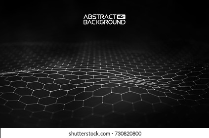 Network connection concept black background vector illustration. Futuristic hexagon perspective wide angle lanscape. Futuristic honeycomb concept. 3d landscape. Big data digital background.