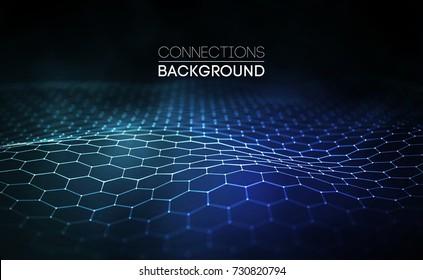 Network connection concept blue vector illustration. Futuristic hexagon perspective wide angle lanscape. Futuristic honeycomb concept. 3d landscape. Big data digital background.