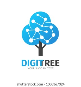 Network connection creative vector logo. Digital tree logotype concept. Cloud storage icon