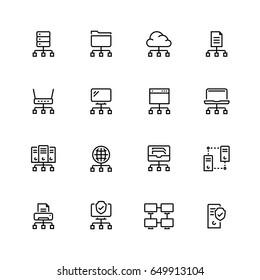 Network connection and hosting icon set in thin line style