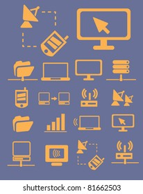 network & connection icons, signs, vector illustrations