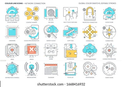 Network connection related, color line, vector icon, illustration set. The set is about devices, computer, cloud, server, web site, computers, technology, share, link, internet.