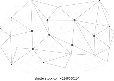 Network connection vector, isolated on white background. Abstract polygonal wireframe mesh background for web site and cover. Creative art network, modern abstract concept. Vector illustration