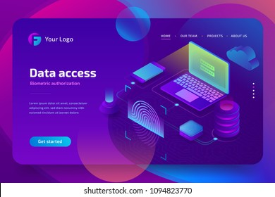 Network data access with biometric authorization concept. Scan Fingerprint, Identification system, landing page template. 3d isometric vector illustration on ultraviolet background
