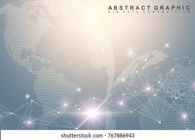 Network and data exchange over planet earth in space. Virtual Graphic Background Communication with World Globe. Perspective backdrop of depth. Digital data visualization. Vector illustration