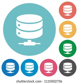 Network database flat white icons on round color backgrounds
