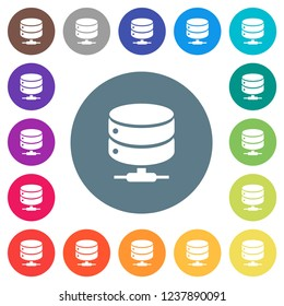 Network database flat white icons on round color backgrounds. 17 background color variations are included.