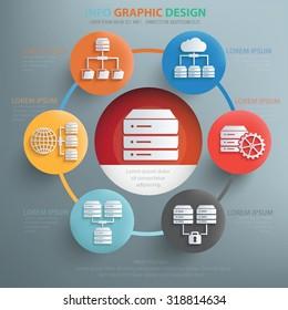 Network, database server concept design,info graphic,vector