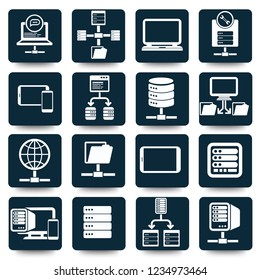 Network and database vector icon set