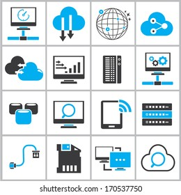 network device icons, black and blue color theme icons