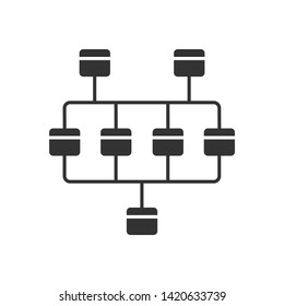 Network diagram glyph icon. Cluster diagram. Computer science. Network graphical chart. Computers structure. Interconnected system. Silhouette symbol. Negative space. Vector isolated illustration