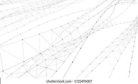 Network of dots connected by lines. DNA twisted structure. Detailed lines forming an abstract background