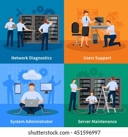Network engineer and it administrator 2x2 design concept set of network diagnostics users support and server maintenance elements vector illustration