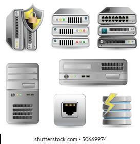 Network Equipment Set. Network Firewall, Router, Switch or Server. Server defender.