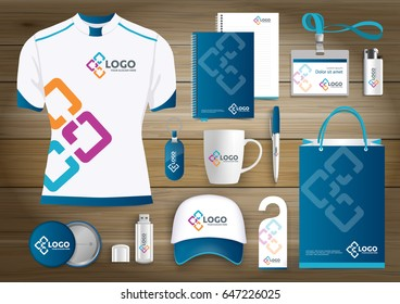 network Gift Items logo, Color promotional souvenirs design for link corporate identity Template with technology lines. Stationery set, digital tech template