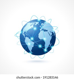 Network globe sphere earth map icon social media technology concept vector illustration