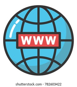 A network globe with www sign, concept of world wide web flat icon