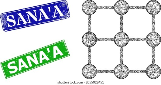 Network grid nodes image, and Sana'A blue and green rectangular textured seals. Polygonal wireframe image designed with grid nodes icon. Stamp seals have Sana'A tag inside rectangular frame.