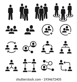 Network group icons. Social community, business team structure, people communication icon. Add member to employee meeting symbol vector set