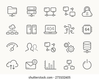 Network Hosting and Servers Line stroke vector Icons.