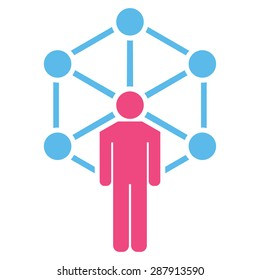 Network icon from Business Bicolor Set. This flat vector symbol uses pink and blue colors, rounded angles, and isolated on a white background.