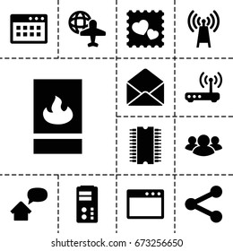 Network icon. set of 13 filled networkicons such as globe and plane, photo with heart, group, envelope, fire protection, router, home message, cpu, transmitter, server