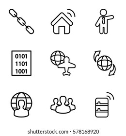 network icon. Set of 9 network outline icons such as businessman, chain, globe and plane, qround the globe, user group, user globe, server, house signal