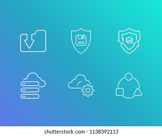Network icon set and backup system with hosting, backup and download folder. Backup related network icon vector for web UI logo design.