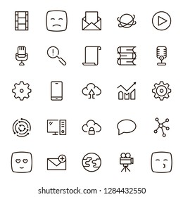 Network icon set. Collection of high quality outline computer pictograms in modern flat style. Black connectr symbol for web design and mobile app on white background. Server line logo.