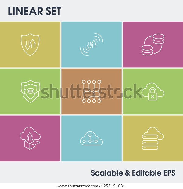 Network Icon Set Routing Connection Process Stock Vector