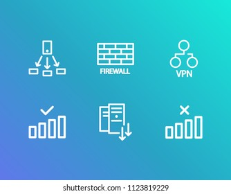 Network icon set and share with vpn server, no internet connection and server scaling. Cluster network related network icon vector for web UI logo design.