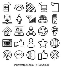 Network icons set. set of 25 network outline icons such as connection, cpu, group, wi-fi, thumb up, home connection, real estate on laptop, user group, star, laptop signal