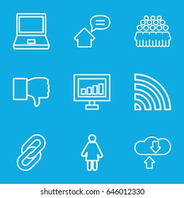 Network icons set. set of 9 network outline icons such as signal, group, wi-fi, home message, dislike, laptop, woman, download cloud