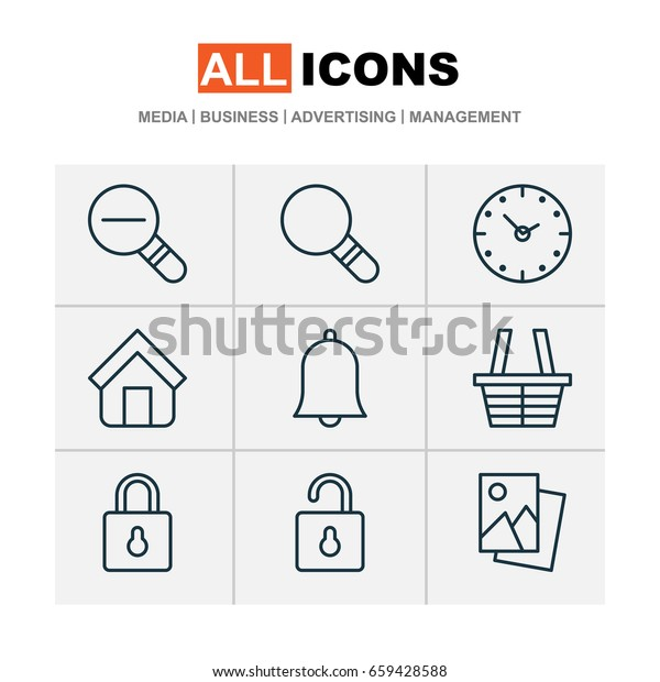 Network Icons Set. Collection Of Shop, Alert, Unlock And Other Elements. Also Includes Symbols Such As Magnifying, Alarm, Glass.