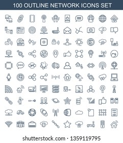 network icons. Trendy 100 network icons. Contain icons such as house al, CPU, router, cloud protection, star, chain, cloud sync, phone cable. network icon for web and mobile.