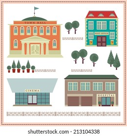 Network illustration with buildings and elements. Town Hall. Hospital. Cinema. Post office.