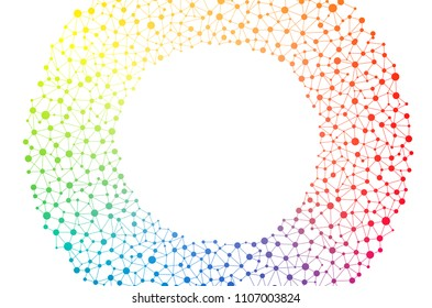 Network illustration of connected dots or cells in a circular design. complex outlines of connectivity symbol. Full spectrum colorful rainbow of connection concept.